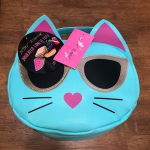 Betsey Johnson NWT Blue Cat Lunch Bag
